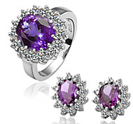 Arinna Fashion Jewelry Set Women 18k white Gold Plated w Purple Rhinestone Ring& Earrings Gift set G1360#5#8