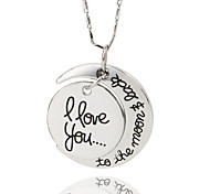 Vilam® I Love You To The Moon And Back Zinc Alloy Silver Shining Necklace