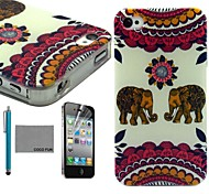 COCO FUN® Red India Elephant Pattern Soft TPU Back Case Cover with Screen Protector and Stylus for iPhone 4/4S