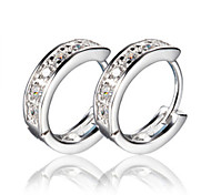Hoop Earrings Silver Simulated Diamond Screen Color Jewelry 2pcs