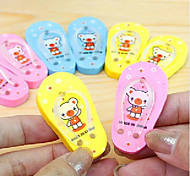Cute Teddy Bear Slippers Eraser(Random Color)
