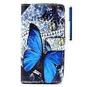 Butterfly Pattern PU Wallet Leather Case with Stand and Pen for Wiko Rainbow