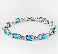 High Quality Fashion Women Platinum 10 KT Elliptical Drill With Triangular White Diamond Zircon Bracelets