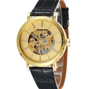Men's Round Alloy Dial Leather Strap Automatic Mechanical Waterproof Watch(Assorted Colors)