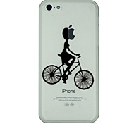 Girl Rides A Bicycle Pattern Ultrathin PC Hard Back Cover Case for iPhone 5C