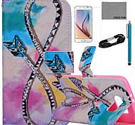 Coco fun® curva padrão seta estojo de couro pu com filme e cabo USB e caneta para Samsung Galaxy S6