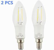 Lámparas LED de Filamento E14 2 W 2 COB 160 LM Blanco Cálido AC 85-265 V