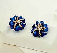 High-grade Paint Flower Shining Diamond Earrings