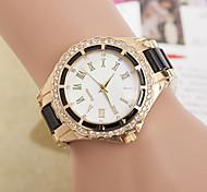 Жен. Модные часы Имитационная Четырехугольник Часы Кварцевый Имитация Алмазный Металл Группа Черный Белый Синий Красный