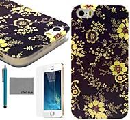 coco fun® fiore giallo di viti modello tpu caso della copertura posteriore con la protezione dello schermo e lo stilo per iPhone 5 / 5s