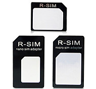 Nano to Micro SIM + Nano SIM to SIM + Micro SIM to SIM Adapter for Iphone 4 / 4S / 5 / 5s / 6 / Plus - Black