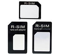 nano a micro sim + nano SIM a sim + micro sim a sim adaptador para el iphone 4 / 4s / 5 / 5s / 6 / más - negro