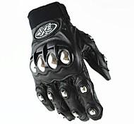 Gants de moto Doigt complet Cuir M/L/XL Noir
