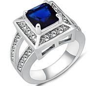 hochwertigen Art und Weisefrauen weißes Gold AAAZircon Saphir-Ring
