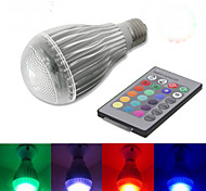 Lâmpada Redonda Regulável/Controle Remoto E26/E27 10 W 800-1200 LM RGB full color K RGB/Muda de Cor 1 LED de Alta Potência 1 pç AC 85-265