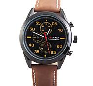 Man's Quartz Wrist Watch Round Dial Fashion PU Strap (Assorted Colors)