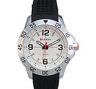 Man's Quartz Wrist Watch Round Dial Fashion Silicone Strap (Assorted Colors)
