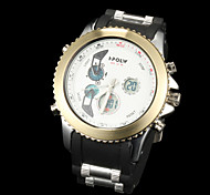 negócio movimento duplo movimento anti impermeáveis novos homens da moda outono marcação grande relógios lcd bwl595