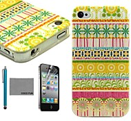 COCO FUN® Orange Floral Tribal Pattern Soft TPU Back Case Cover with Screen Protector and Stylus for iPhone 4/4S