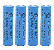 Focus Power 4.2V 5000mAh 18650 Rechargeable Lithium Ion Battery(4pcs)