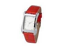 relojes de la pareja rojos genuinos de la banda de cuero del análogo de cuarzo (1 pieza)