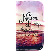 Never Stop Dreaming Pattern PU Leather Case with Magnetic Snap and Card Slot for Samsung S3 Mini I8190N