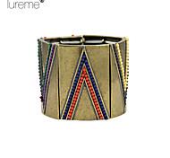 Lureme® Vintage Fashion Triangle Splicing Alloy Bracelet Insert Color Beads Bracelet