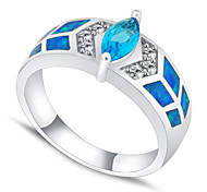 High Quality Fashion Water Blue Opal Two Claws Zircon Ring