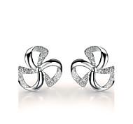 Earring Stud Earrings Jewelry Women Sterling Silver 2pcs Silver / White
