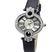 Oval shape frame clear dial crystal bezel big diamond connector leather band high quartz watches DC-51047
