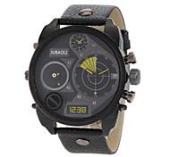 JUBAOLI® Men's Dual Time Zones Design Black Leather Band Quartz Wrist Watch Cool Watch Unique Watch