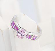 High Quality Fashion Platinum Opal Oval Pink Ring