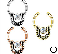 Bohemia Ethnic Stainless Steel Crystal Nose Ring Body Jewelry Piercing