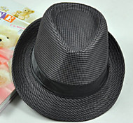 Unisex Houndstooth Pinched Crown Ribbon Fedora Hat