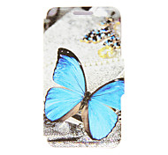 Kinston® Blue Butterfly Pattern PU Leather Full Body Cover with Stand for Huawei P8
