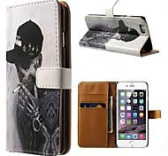 o diabo do padrão de fumar couro pu caso de corpo inteiro com stand titular e um cartão para o iphone 6