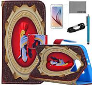 estojo de couro pu Coco padrão capacete guerreiro fun® com filme e cabo USB e caneta para Samsung Galaxy S6