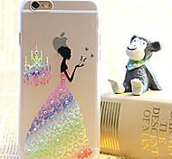 Diamond Rainbow  Flower Skirt Gril Painting Transparent Plastic Case for iPhone 6
