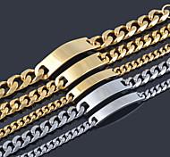 Fashion Men Women 8MM Width 18K Gold/Silver Platinum Plated Stainless Steel Metal ID Bracelet Chain Bracelets