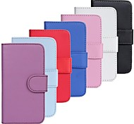 Nubuck Leather Wallet Card Plain PU Case with Stand for Samsung Galaxy S2 I9100 (Assorted Colors)