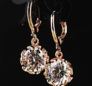 Women's Fashion 18K Gold Filled CZ Stone Pierced Dangle Earring