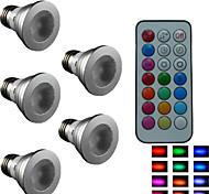 5pcs  SchöneColors® E27 4W Colorful Dimmable/21Keys Remote-Controlled/Decorative RGB LED SpotLights AC 85-265 V