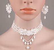 Fashion Women Alloy Lace Simulated-pearl Resin Earrings Necklace Sets Causal Daily Wedding