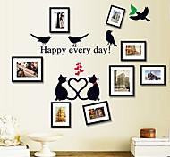 Fashion Cartoon Bird Photo Frame PVC Wall Sticker