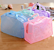 Transparent Waterproof Cloth Floral Cosmetic Bag(Random Color)