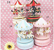 Present Hand Painted Wooden Music Box Musical Box Resin Carrousel Design for Gteative Gift (Random Music)