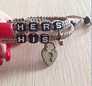 Classic Simple His Her Black-white Charm Bracelets(2 Pcs)