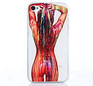 Scrawl Sex Girl Pattern Ultrathin TPU Soft Back Cover Case for iPhone 4/4S