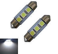 JIAWEN® 2pcs Festoon 36mm 1W 3x5050SMD 60LM 6000-6500K Cool White Reading Light LED Car Light (DC 12V)