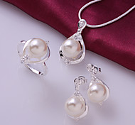 Silver Jewelry,Silver Fashion Jewelry Crystal Pearl Necklace&Earrings&Ring Jewelry Sets For Women SS733